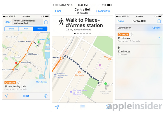 Apple Maps transit directions expand to include Montreal on