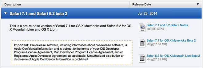 Apple Issues New Safari Betas For Os X Mavericks Mountain Lion With