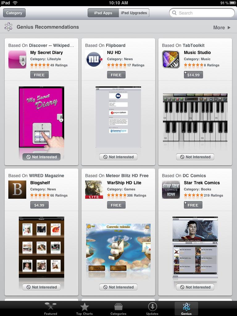 Apple adds Genius recommendation tab to iPad App Store