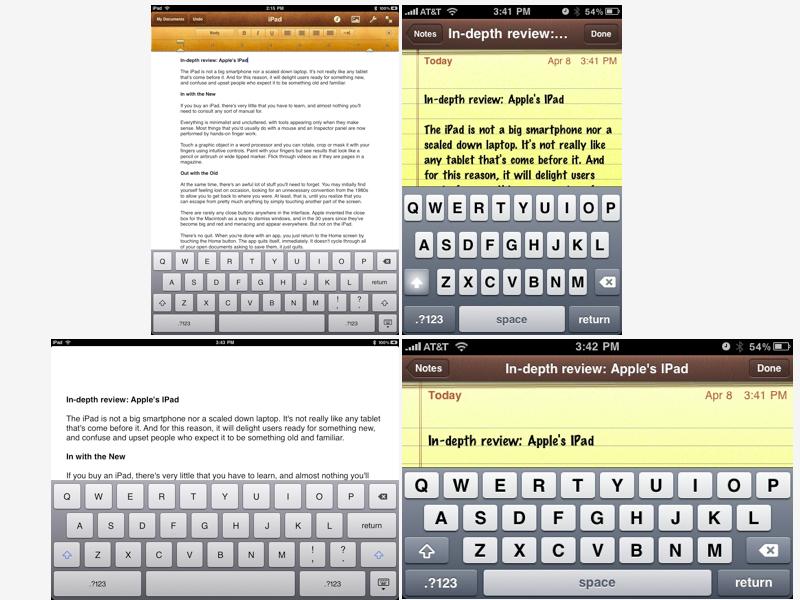 iPhone vs iPad virtual keyboards