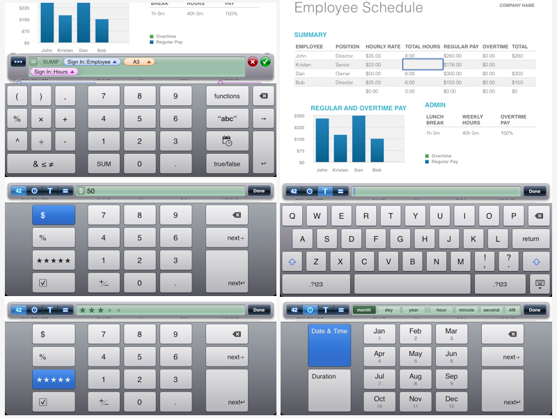 iPad Numbers keyboards