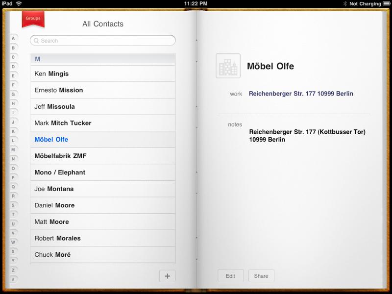 iPad Contacts