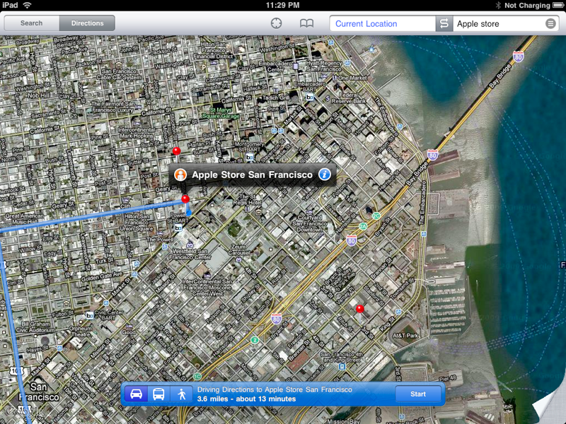 iPad Maps Directions