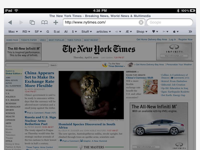 iPad Safari Bookmark Bar