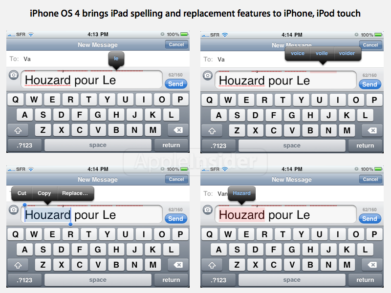 spell check on iphone iphone os 4 betas show new style spelling features 16177