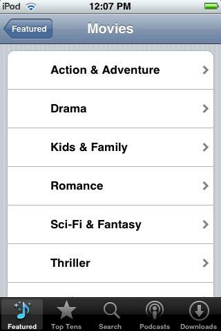 iTunes TV genres