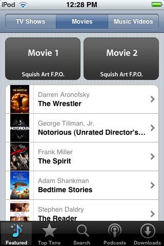 iTunes movie list