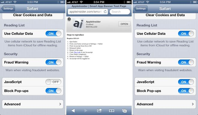 iOS 6 bug reenables JavaScript in Safari without user consent