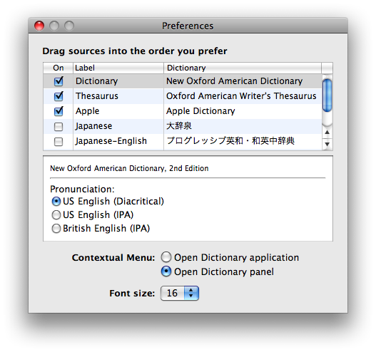 Road to Mac OS X Leopard: Dictionary 2 0
