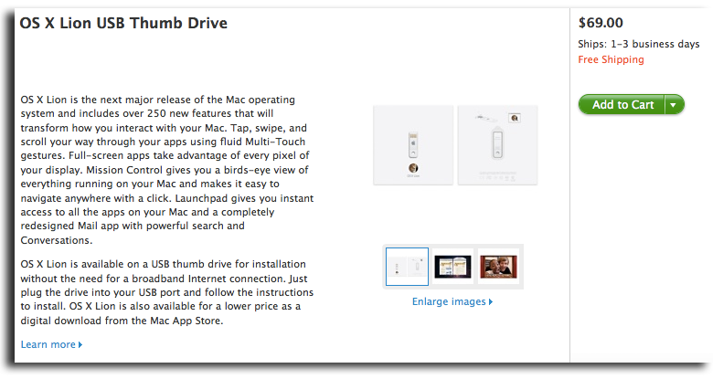 Apple now selling $69 Mac OS X Lion USB Thumb Drive