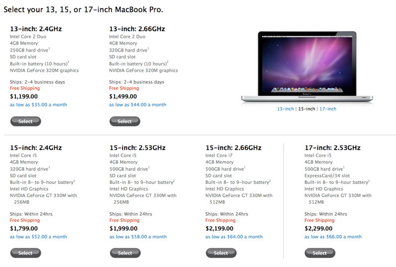 Apple releases new MacBook Pros with Intel Core i7, i5