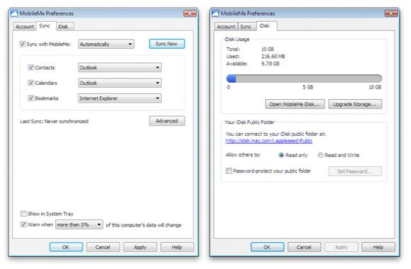 MobileMe in Windows Control Panel