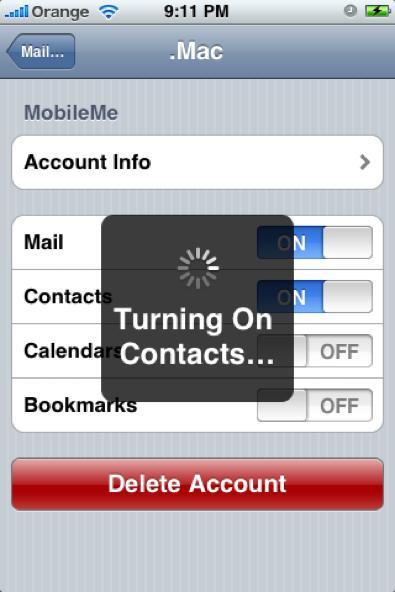 iPhone MobileMe Push Settings