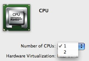 Parallels 4 CPU choices