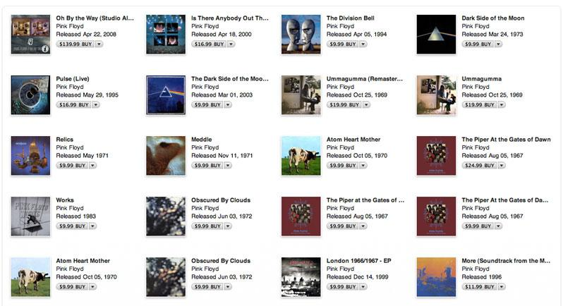 Pink Floyd albums removed from iTunes after record contract