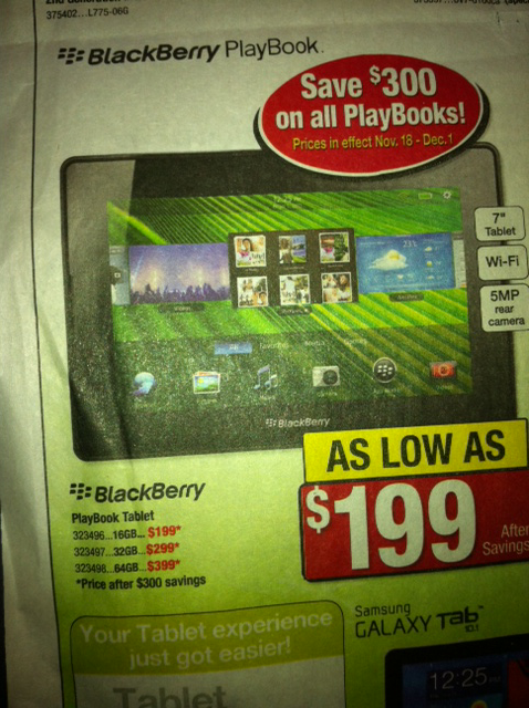 Retailers ready BlackBerry PlayBook fire sale for holiday push