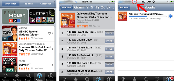 iPhone 2 2 screenshots reveal direct podcast download interface
