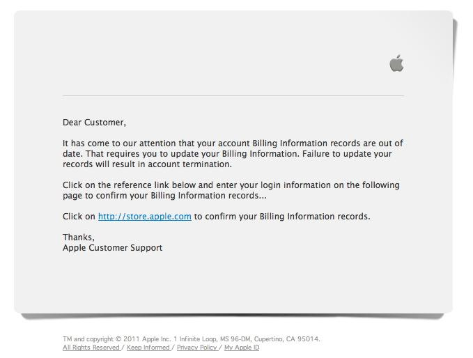 app store email scam