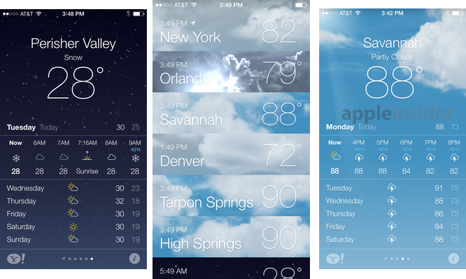 weather icons on iphone inside ios 7 apple s weather app gets animated 16468