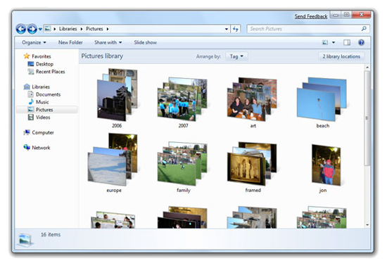 Windows 7 Library view
