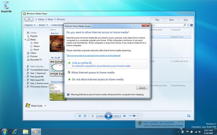 Windows 7 RC Home Media